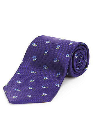 Pure Silk Textured Floral Tie with Stain Resistance Clothing
