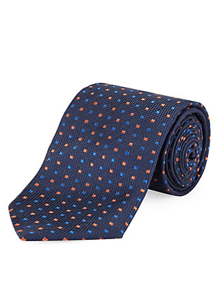 Pure Silk Woven Tie with Stain Resistance Clothing