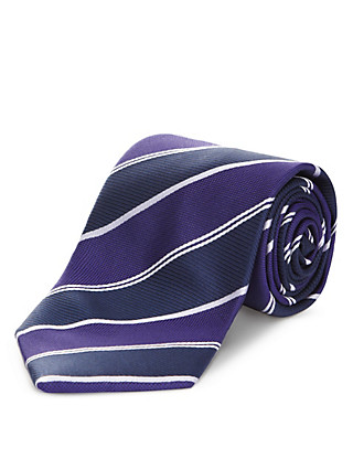 Pure Silk Tonal Bold Striped Tie Clothing