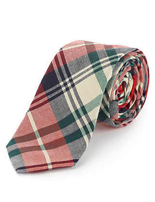 Pure Cotton Madras Checked Tie Clothing