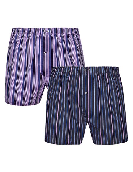 2 Pack Pure Cotton Easy to Iron Striped Boxers