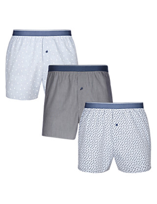3 Pack Pure Cotton Easy to Iron Nautical Boxers Clothing