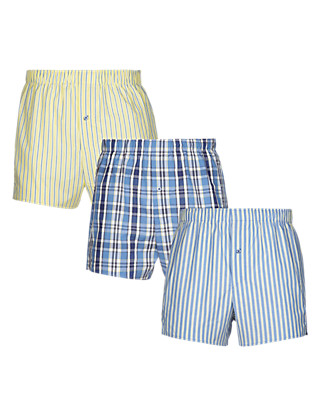 3 Pack Pure Cotton Striped & Checked Woven Boxers with StayNEW™ Clothing