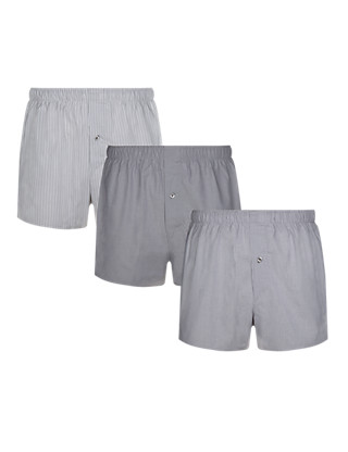 3 Pack Pure Cotton Chambray Assorted Woven Boxers Clothing