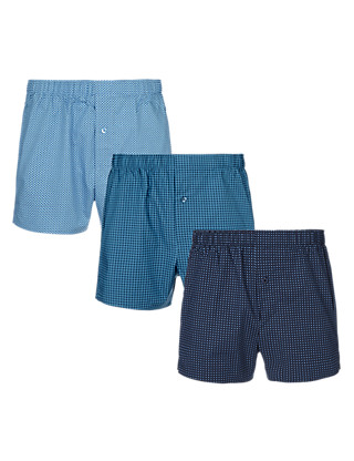 3 Pack Pure Cotton Spotted Boxers Clothing