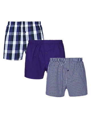 3 Pack Pure Cotton Block Checked Boxers Clothing