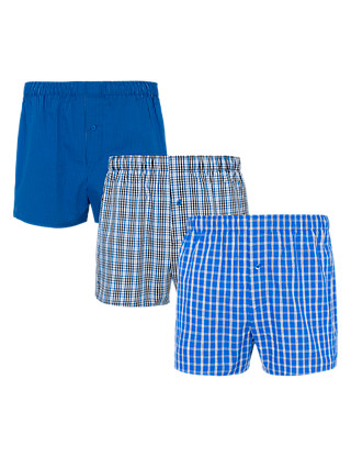 3 Pack Pure Cotton Checked Boxers Clothing