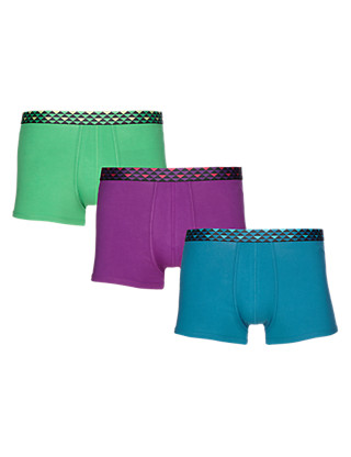 3 Pack Cool & Fresh™ Stretch Cotton Geometric Print Waistband Hipsters with StayNEW™ Clothing