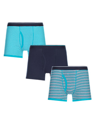 3 Pack Cool & Fresh™ Stretch Cotton Striped Trunks with StayNEW™ Clothing