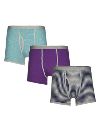 3 Pack Cool & Fresh™ Stretch Cotton Assorted Trunks with StayNEW™ Clothing