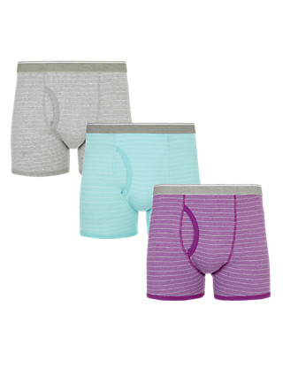 3 Pack Cool & Fresh™ Pure Cotton Striped Trunks with StayNEW™ Clothing