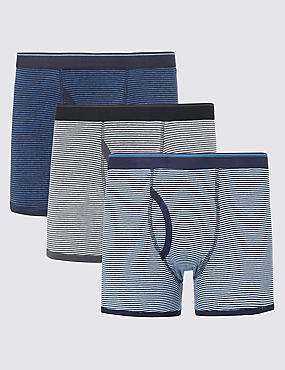 XXXL 3 Pack Pure Cotton Feeder Striped Trunks with StayNEW™
