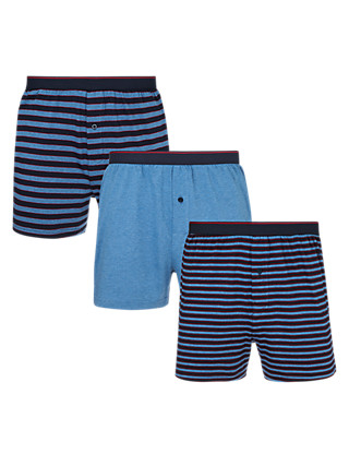 3 Pack Cool & Fresh™ Stretch Cotton Highlight Striped Boxers with StayNEW™ Clothing