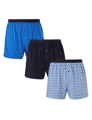 3 Pack Cool & Fresh™ Pure Cotton Paisley Print Boxers with StayNEW™ Clothing