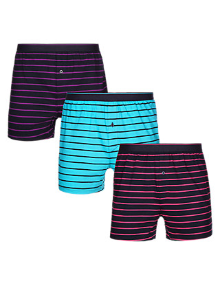 3 Pack Pure Cotton Cool & Fresh™ Striped Boxers Clothing