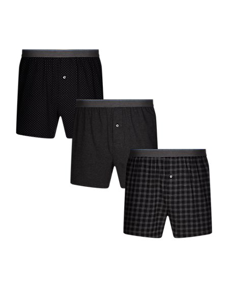 3 Pack Pure Cotton Cool & Fresh™ Gingham Checked Boxers