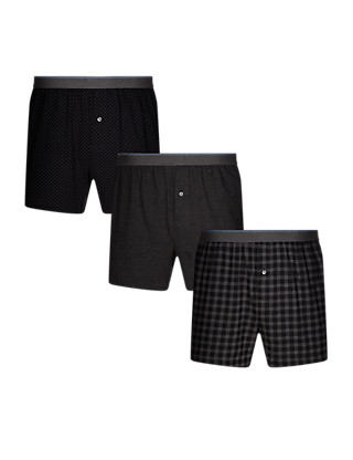3 Pack Pure Cotton Cool & Fresh™ Gingham Checked Boxers Clothing