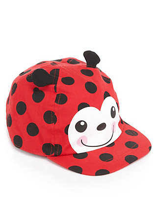 Pure Cotton High Top Ladybird Cap (Younger Girls) Clothing