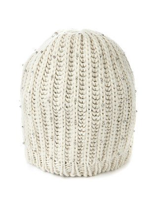 Knitted Bead Embellished Beanie Hat Clothing