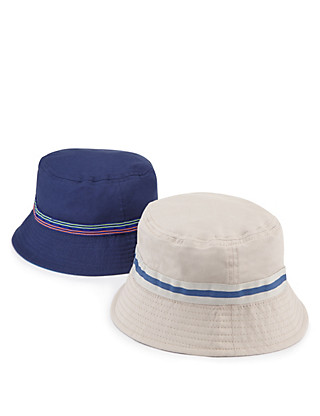 2 Pack Pure Cotton Pull On Striped Hats (Older Boys) Clothing