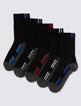 5 Pairs of Freshfeet™ Cotton Rich Sports Socks (5-14 Years)