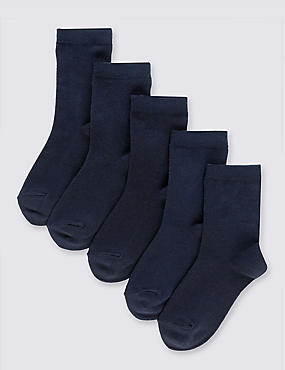 5 Pairs of Cotton Rich School Socks (2-16 Years), NAVY, catlanding