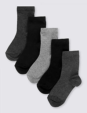 5 Pairs of Cotton Rich School Socks (2-16 Years), CLASSIC MIX, catlanding