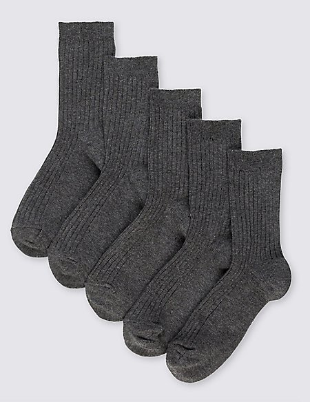 5 Pairs of Freshfeet™ Cotton Rich Ribbed School Socks (3-16 Years)