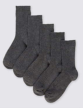 5 Pairs of Freshfeet™ Cotton Rich Ribbed School Socks (3-16 Years), GREY, catlanding