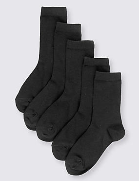 5 Pairs of Cotton Rich School Socks (3-16 Years), BLACK, catlanding