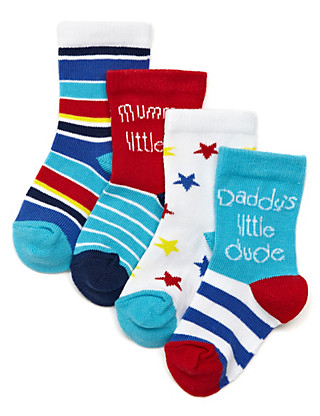 4 Pairs of Cotton Rich Mummy's Star Baby Socks Clothing