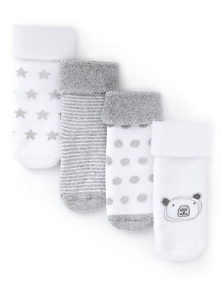 4 Pairs of Cotton Rich Bear Terry Baby Socks Clothing