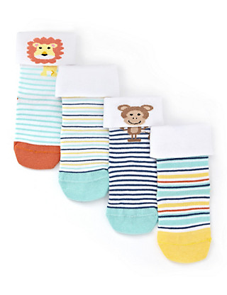 4 Pairs of Cotton Rich Turn Up Lion Baby Socks Clothing