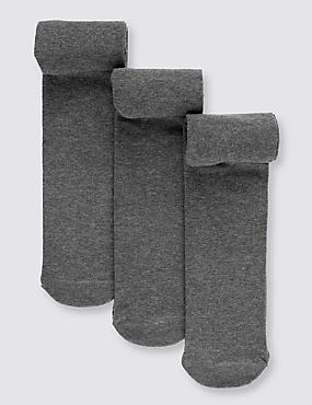 3 Pairs of School Tights(3-14 Years), GREY, catlanding