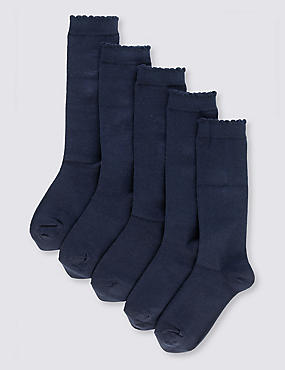 5 Pairs of Cotton Rich Knee High Socks (2-14 Years), NAVY, catlanding
