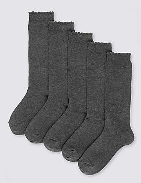 5 Pairs of Cotton Rich Knee High Socks (2-14 Years), GREY, catlanding