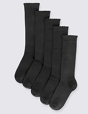 5 Pairs of Cotton Rich Knee High Socks (2-14 Years), BLACK, catlanding