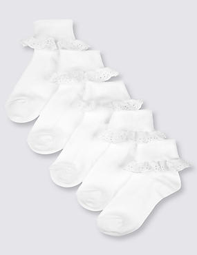 5 Pairs of Cotton Rich Frilly Socks (2-14 Years), WHITE, catlanding