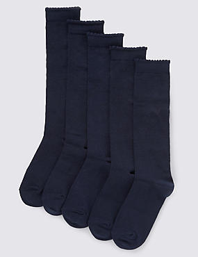 5 Pairs of Freshfeet™ Cotton Rich Knee High School Socks with Silver Technology