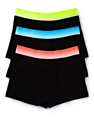 3 Pack Cotton Rich Neon Dip Dye Trunks (5-14 Years) Clothing