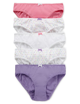 5 Pack Pure Cotton Spotted Bikini (5-14 Years) Clothing