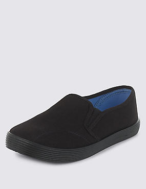 Kids' Elasticated Panel Plimsolls with New & Improved Fit