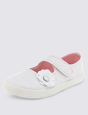 Kids' Canvas Floral Applique Plimsolls (7 Small - 4 Large), WHITE, catlanding