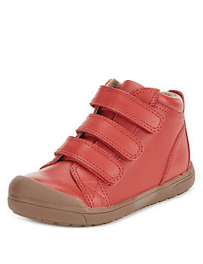 Kids' Leather Mid Top Riptape Trainers