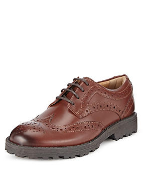 Kids' Leather Lace-up Brogue Shoes