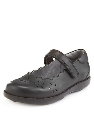 Leather Scallop Trim School Shoes (Younger Girls) Clothing