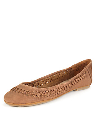 Leather Woven Slip-On Pump Shoes Clothing