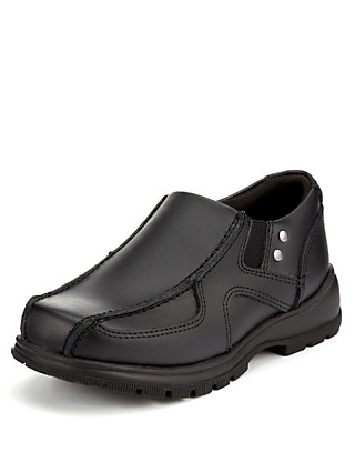 Wide Fit Scuff Resistant Leather Slip-On Shoes (Younger Boys) Clothing