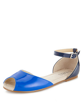 Peep Toe Two Tone Sandals Clothing