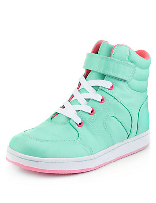 High Top Lace Up Trainers Clothing